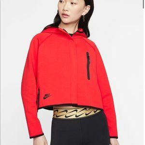 Nike Tech Womens Jacket Hoodie Red Black NWOT
